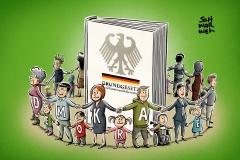 Schwarwel Glücklicher Montag Illustration Demokratie Grundgesetz