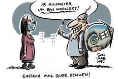 Treffen von Kanzlerin und Länderchefs Bewegungsradius ab Inzidenz von 200 auf 15 km um Wohnort eingeschränkt