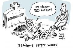 Emeritierter Papst hält an Zölibat fest: Benedikt XVI. spricht sich gegen Ehe für Priester aus