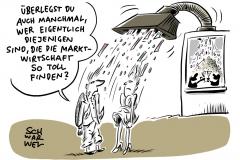 Ungerechte Verteilung der Umverteilungsmaschine: Arme Arbeitnehmer, reiche Marktwirtschaft nimmt den Beschäftigten und gibt den Kapitaleigentümern