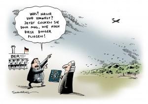 BER Verfahren Misschatung Umweltgesetze Karikatur Schwarwel