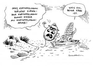 Gen Saatgut Hersteller Monsanto Europa Karikatur Schwarwel