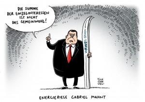 Energiewende: SPD bremst Energiewende aus und begünstigt Stromriesen - Karikatur Schwarwel
