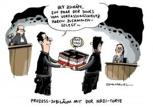 100 Tage NSU-Prozess: Beate Zschäpe schweigt – Karikatur Schwarwel