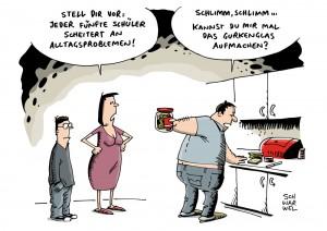 Pisa-Ranking: Jeder fünfte deutsche Schüler scheitert an Alltagsproblemen - Karikatur Schwarwel