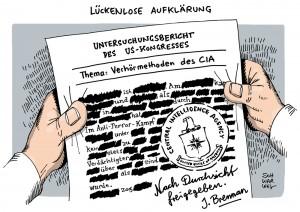 USA-Geheimdienst: CIA folterte schlimmer als bekannt - Karikatur Schwarwel