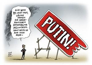 Obama: Große USA-Baustellen in Syrien, dem Iran und bei beim Nahostkonflikt - Karikatur Schwarwel