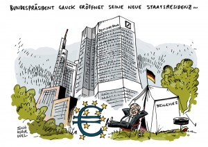 Rede zur Finanzwelt: Bundespräsident Gauck geht auf Streichelkurs zu Bankern – Karikatur Schwarwel