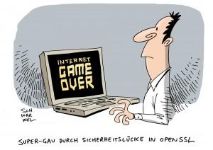 """""""Internet-Super-GAU: Fehler bei Verschlüsselungssoftware OpenSSL - Karikatur Schwarwel"""