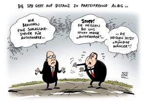 Schlagloch-Steuer: SPD distanziert sich von eigenem Parteifreund Albig - Karikatur Schwarwel