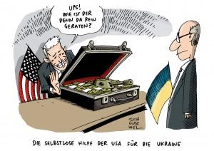 Ukraine: USA verspricht 50 Milliarden als Hilfe - Karikatur Schwarwel