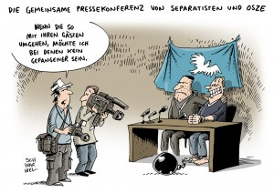 Ukraine: Separatisten führen festgesetzte OSZE-Militärbeobachter vor - Karikatur Schwarwel