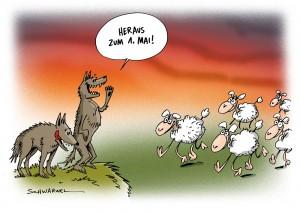 1. Mai: Kampftag der internationalen Arbeiterklasse - Karikatur Schwarwel