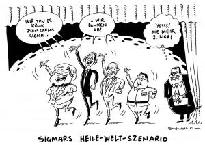 Thronwechsel: Spaniens König Juan Carlos dankt ab - Karikatur Schwarwel