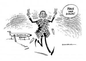 Europa-Reise: Obama bläst zur Aufrüstung - Karikatur Schwarwel