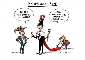Obama-Rede in Warschau: Die Zeiten von Imperien sind vorbei – Karikatur Schwarwel