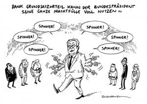 Grundsatzurteil: Gauck darf NPD-Anhänger Spinner nennen - Karikatur Schwarwel