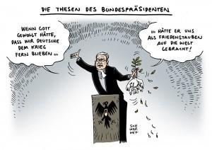 Gauck:  Bundespräsident und ehem. ev.-luth. Pastor spricht sich für Kriegsbeteiligung Deutschlands aus - Karikatur Schwarwel