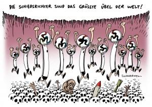 Fußball-WM: Sportnews überschatten Berichterstattung aus Politik und Weltgeschehen - Karikatur Schwarwel