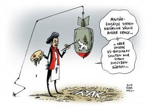 Irak-Konflikt: Laut Nahost-Experte bereiten USA Militärschläge vor – Karikatur Schwarwel