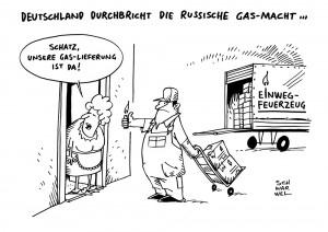 Versorgungssicherheit:  Europa will die Gas-Macht Russlands Gazprom brechen – Karikatur Schwarwel