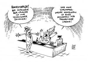 Berliner Flughafen:  Der gefeuerte BER-Planer ist nur technischer Zeichner - Karikatur Schwarwel