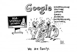 Google: Mit Vielzahl von Projekten in Berlin vergrößert Weltkonzern Google weiter seinen Einflussbereich - Karikatur Schwarwel
