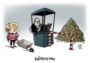 Verfassungsprüfung: Gauck blockiert umstrittene Diäten-Erhöhung - Karikatur Schwarwel