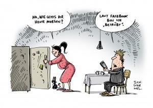 Facebook und Datenschutz: Soziales Netzwerk verteidigt strittiges Psycho-Experiment - Karikatur Schwarwel