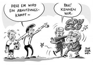 Dauerstreit in Union: Seehofer will Streit mit Merkel beenden + Physische Herausforderung bei EM 2016: Löw sagt Abnutzungskampf voraus