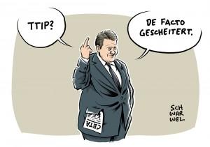 Verhandlungen treten auf der Stelle: Gabriel erklärt TTIP für gescheitert, verteidigt jedoch CETA