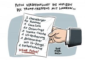 Trump-Lawrow-Gespräch: Putin will Notizen der Unterredung veröffentlichen