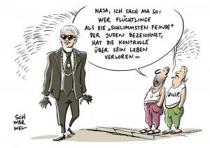 """Skandal in französischer TV-Show: Lagerfeld nennt Flüchtlinge """"schlimmste Feinde"""" der Juden"""